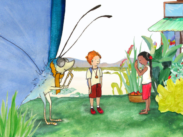 Case and Flinder in Cambodia children's book illustration giant butterfly
