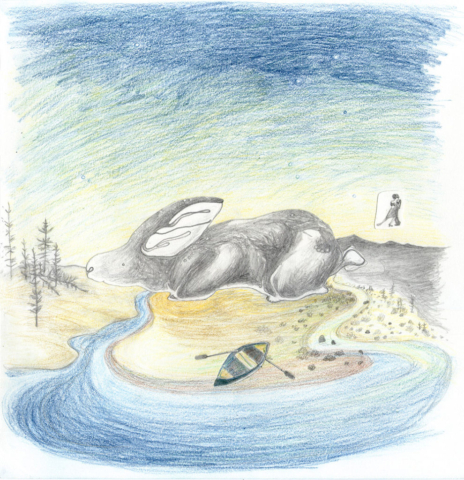 bunny boat tango landscape magical realism colored pencil