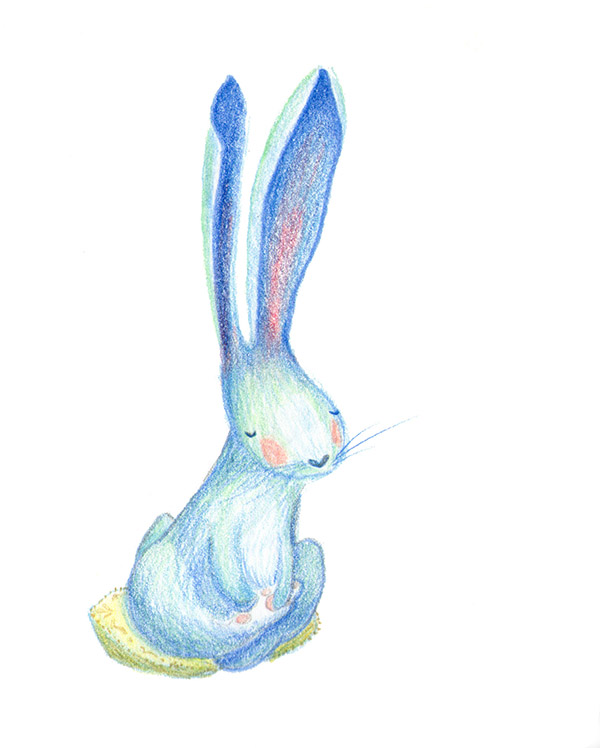 colored pencil bunny for children sweet meditating bunny Anna Cosper