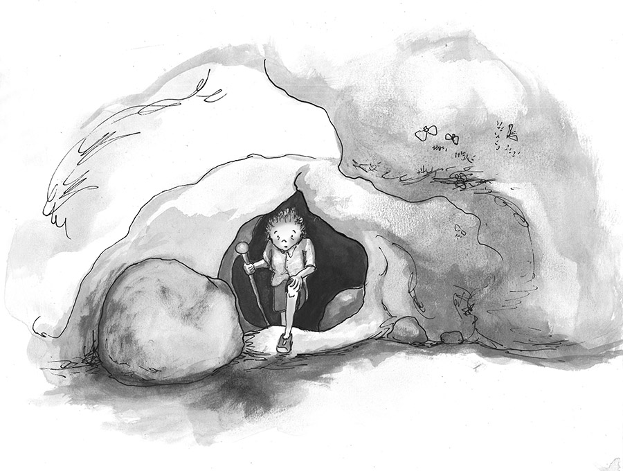 Case and Flinder black and white illustration Anna Cosper Case coming out of cave, dazed