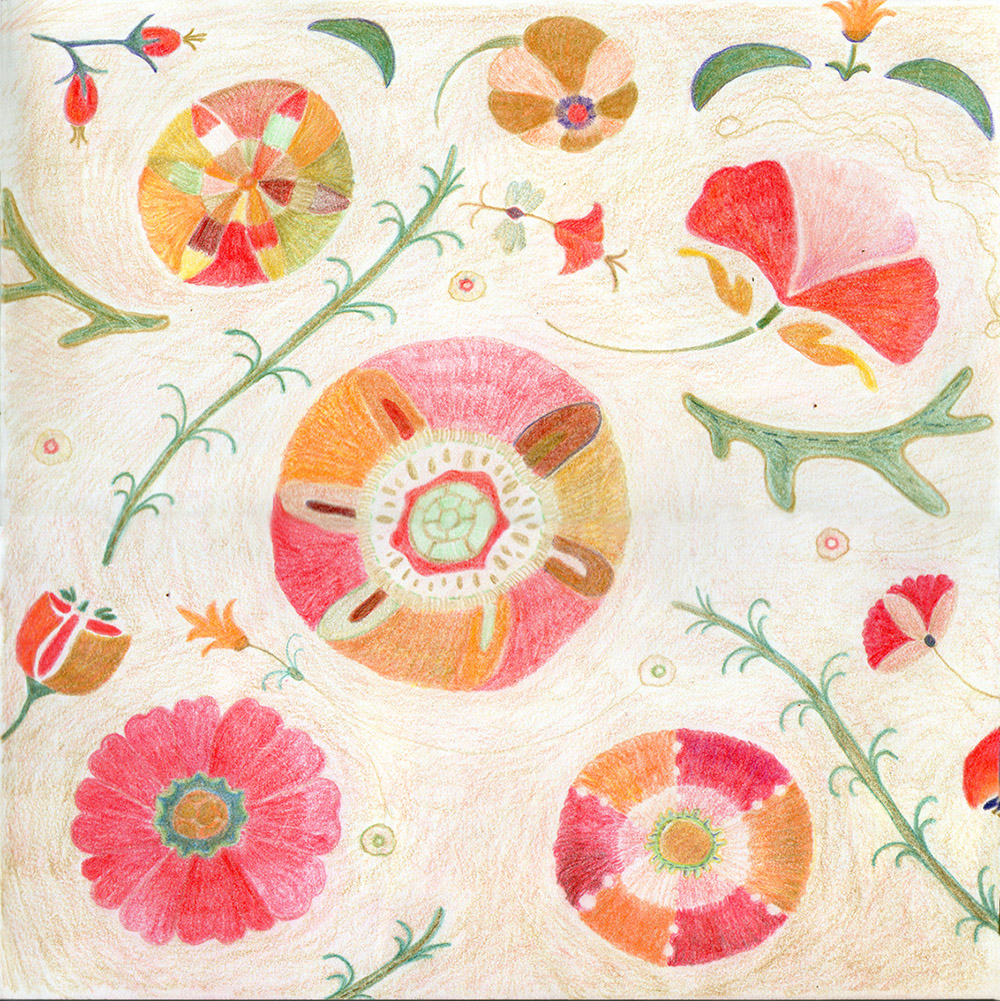 inspired by William Morris flower pattern with colored pencil whimiscal cozy sincere