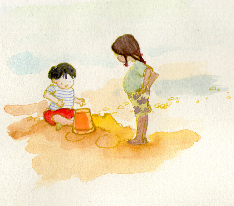 kids at the beach watercolor