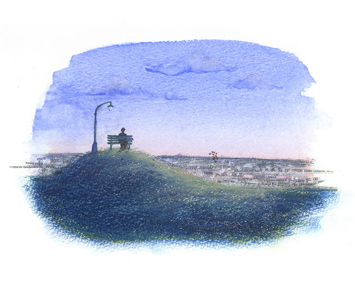 illustration melancholy pensive thoughtful Paris Romania twilight