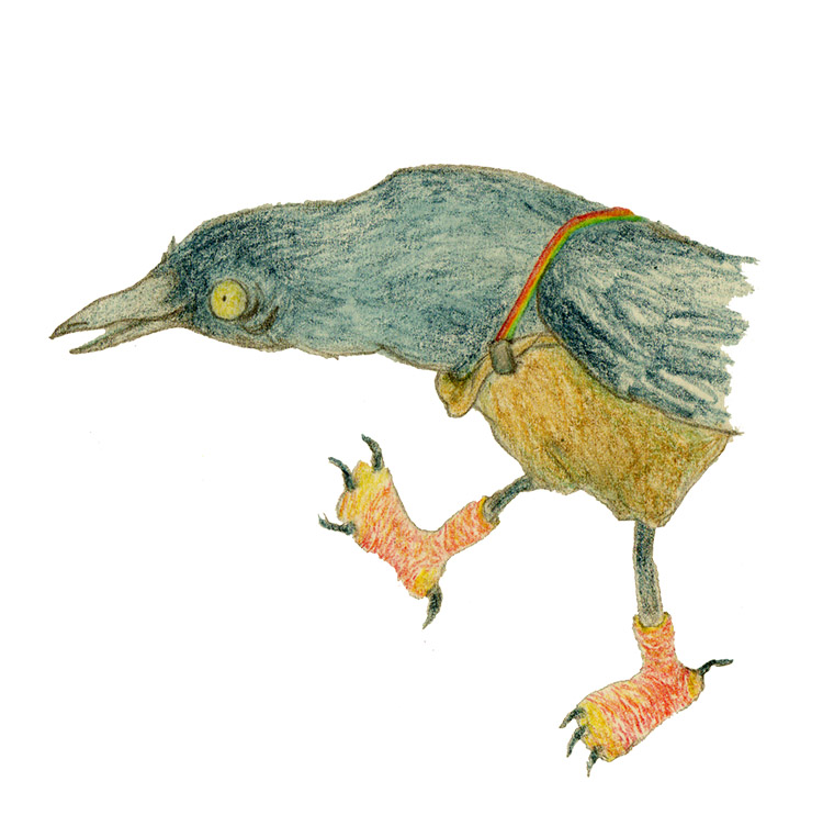 Old crow illustration colored pencil