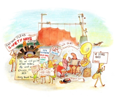 protesters illustration protesting fleas intelligent insects colored pencil gouache ink
