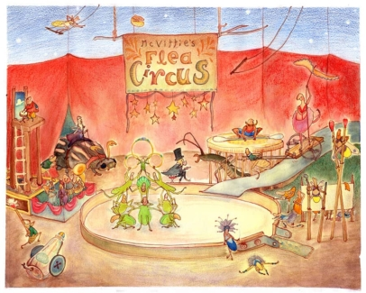 Flea Circus strong man stilt walkers brass band acrobats colored pencil gouache ink