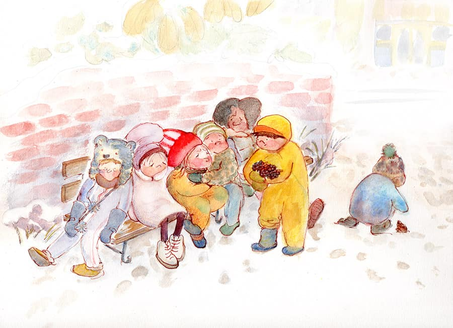 playground scene winter kids waiting for mommy kids in the snow gathering pine cones midwest